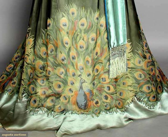 """ARTS & CRAFTS GOWN, PARIS, c. 1910 Peacock tail printed silk chiffon w/ embroidered & beaded peacock on bodice, Paris label """"Weeks""""."""