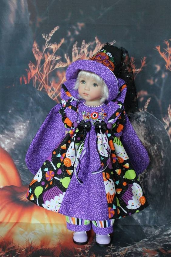 "13"" Effner's Little Darling's ""A CUPCAKE HALLOWEEN"" Halloween Dress Ensemble…"