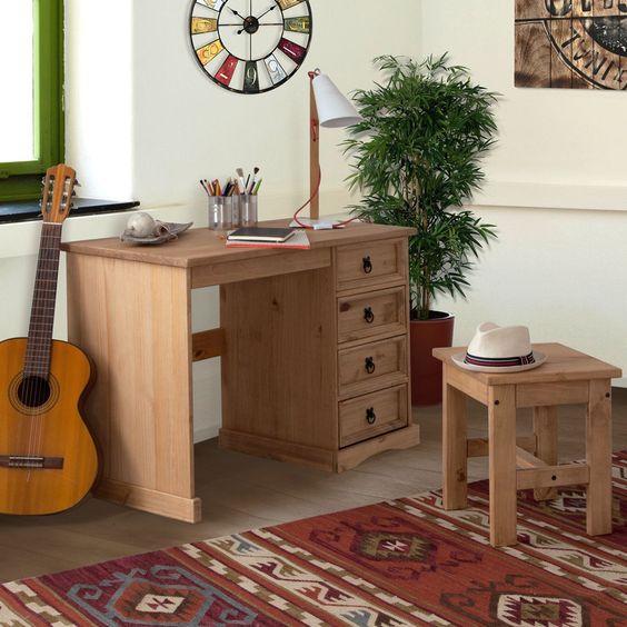 Schreibtisch-Set Finca Rustica I (2-teilig) - Kiefer massiv - gewachst