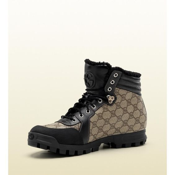 Gucci Lace-Up Boot With Interlocking G Detail ($720) ❤ liked on Polyvore