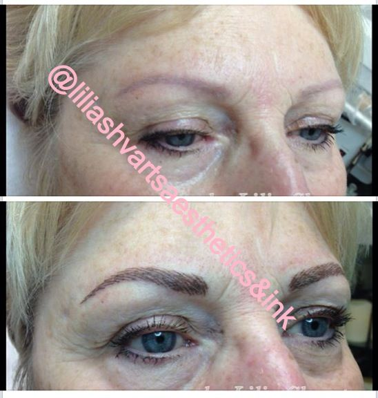 Permanent make up eyebrows simulation BEFORE and AFTER