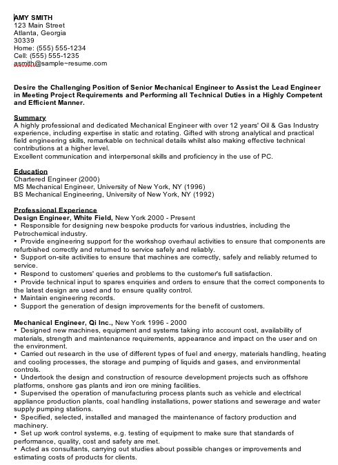 Mechanical Engineering Sample Resume Resume Mechanical Engineering  Httpwww.resumecareerresume .
