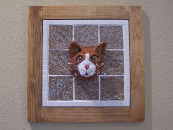 LITTLE TABBY  Mosaic and Ceramic Tabby Cat Mask by animalinstincts
