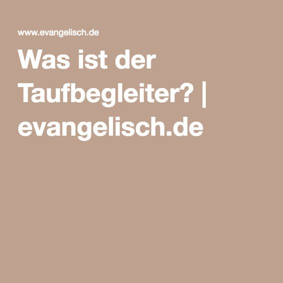Was ist der Taufbegleiter?   evangelisch.de