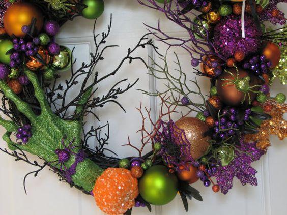 The Witch's Hand - Spooky Halloween Wreath, Black Green Purple Orange Wreath, Witch's Wreath, Fall Wreath, Black Wreath, Scary Wreath on Etsy, $106.50