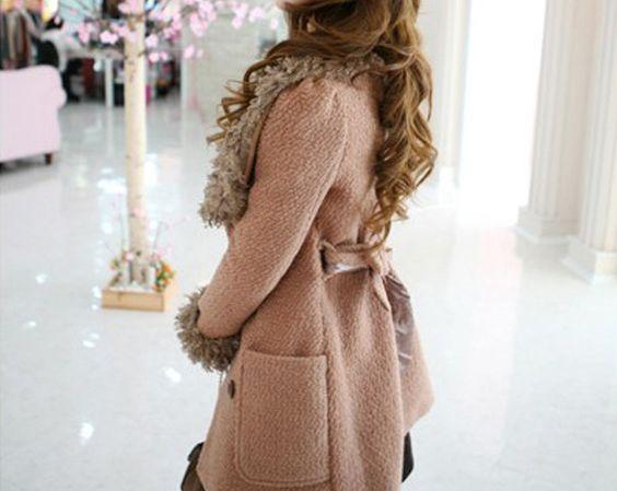 Fur Collar Double Breasted Tweed Slim Coat