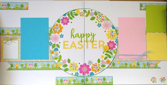 Happy Easter Layout, created by diva Karen for Scrappin' Monday. Doodlebug collection.