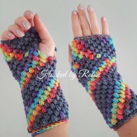 10 Free Crochet Fingerless Gloves Patterns: Puff Stitch Fingerless Gloves Free Crochet Pattern