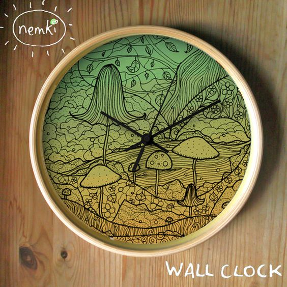 Toadstools Wall Clock 10 Inch Illustrated by nemki on Etsy, £23.25