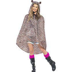 Leoparden Kostüm Damen Leopardenkostüm Poncho Regenponcho Regenmantel Regenjacke Party Ponchos