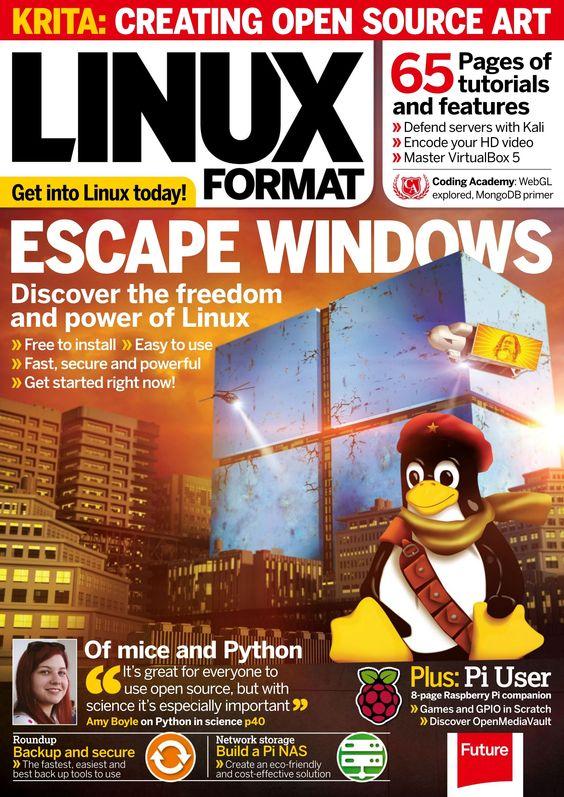 #Linux Format, #February 2016. Escape Windows 10. Tutorials: #Kali Linux, #Zeroshell and more. #WebGL audio visualizer.