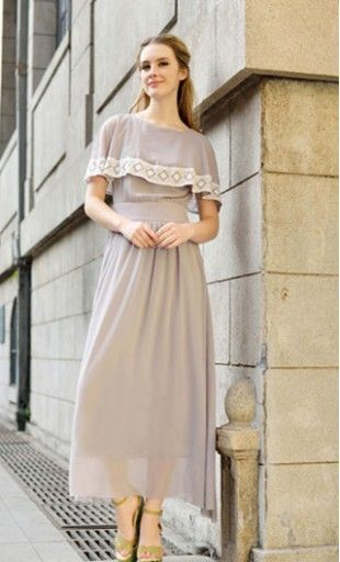Women's vintage maxi dress with lace lined cape sleeves ...