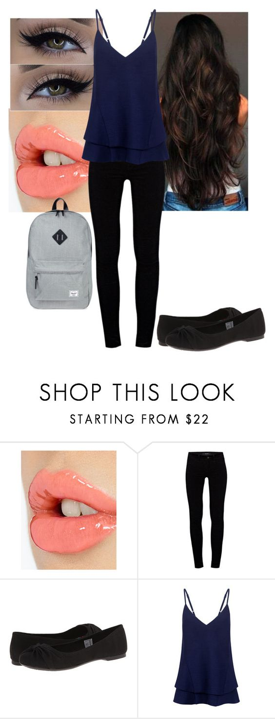 """Untitled #128"" by mayaforever3 ❤ liked on Polyvore featuring Charlotte Tilbury, J Brand, xO Design, Rocket Dog, C/MEO COLLECTIVE and Herschel Supply Co."