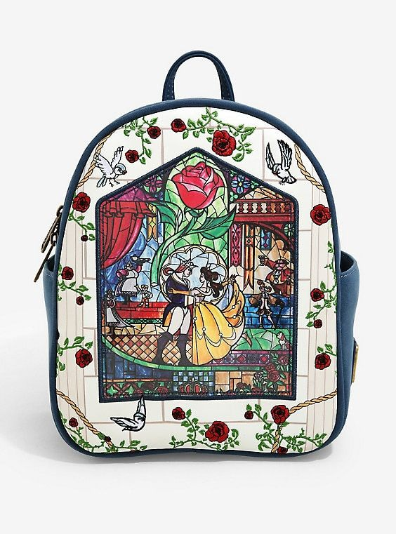 Stained Glass Enchanted Rose Beauty Beast Disney Travel Bag Luggage Tags