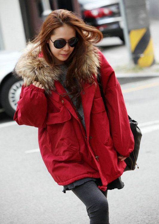 Red Winter Coat With Hood - JacketIn