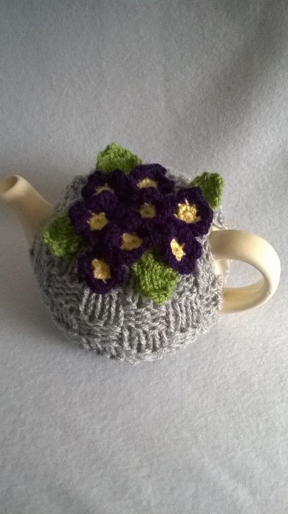 Hand Knitted Violets Tea Cosy: