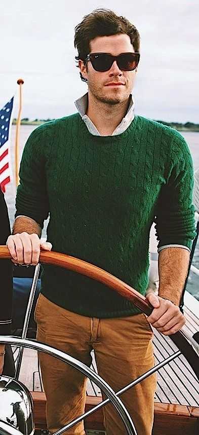 Green Sweater/Beige Trousers Mens Fashion for Boats