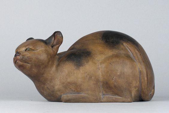 Kagedo Japanese Art Soshichi Ware, 1806 Sleeping Cat Okimono - Kagedo Japanese Art