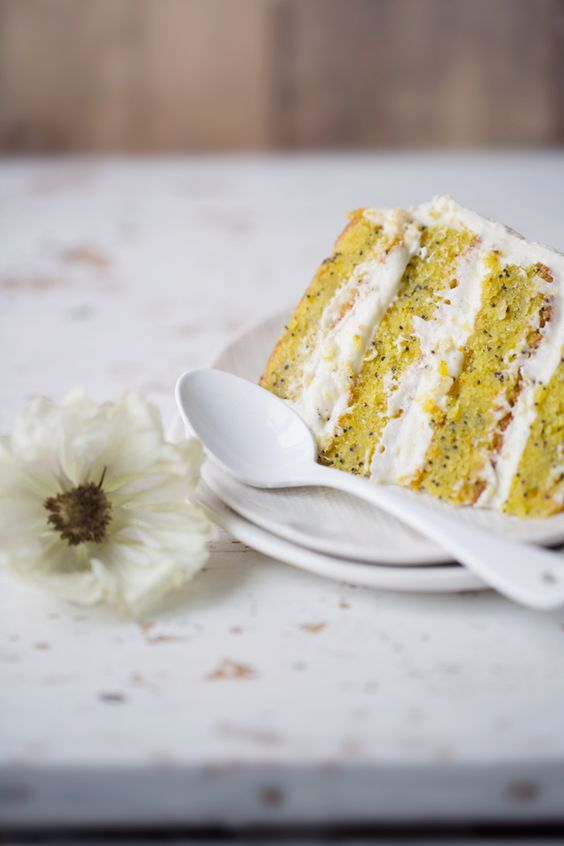 ... orange and poppy seed layer cake with Vanilla cream cheese frosting