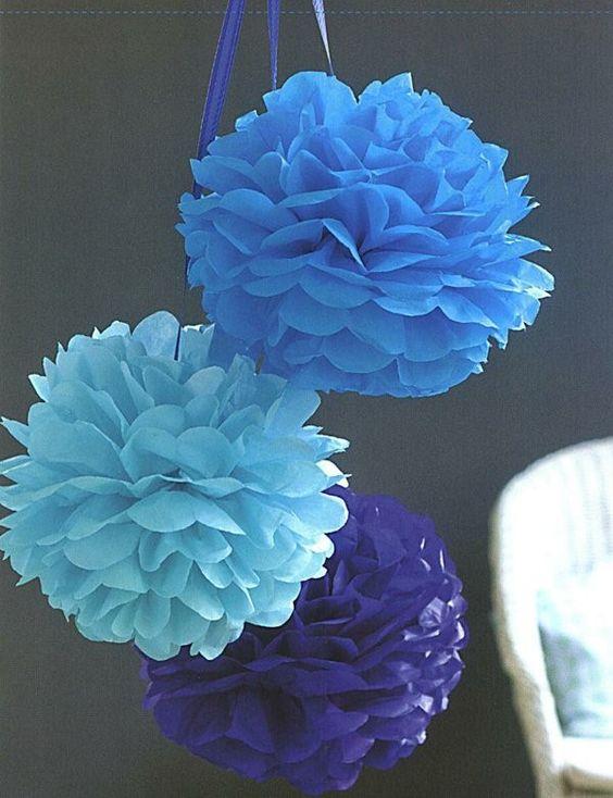 Fleurs de papier cr pon pompons de papier doux deco diy - Pompon en papier crepon ...