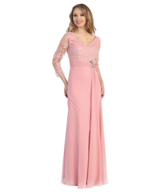 Dusty Rose Lace &amp- Chiffon Long Sleeve Bridesmaid Dress ...