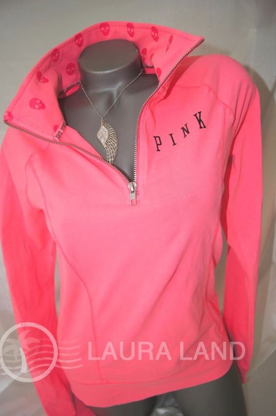 S~victorias secret pink half zip skull sweat shirt yoga jacket ...