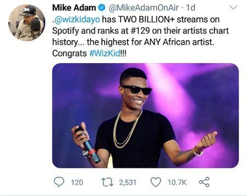 Renowned Nigerian Hit Maker Wizkid Has Become The First African Artiste To Reach 2 Billion Streams On Online Music Streaming In 2020 African Artists Spotify Streaming
