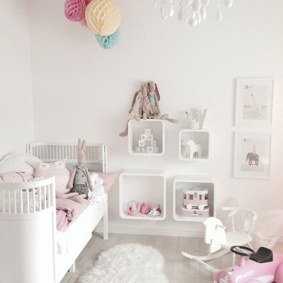 Pink & white nursery with Sebra modern crib by scherdin__89