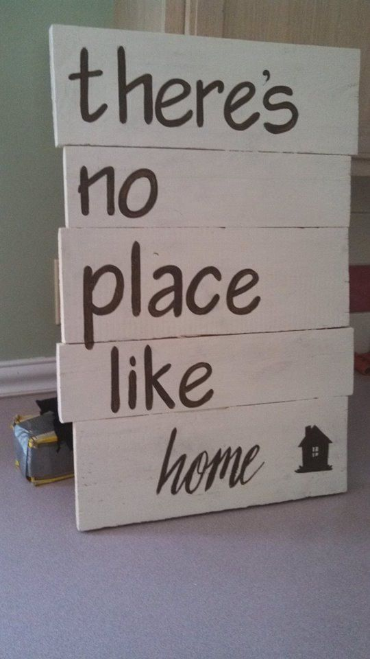 """Handcrafted, Wooden Pallet Sign, """"There's no place like home"""""""