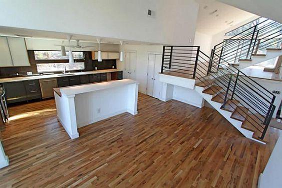 modern kitchen & steel staircase