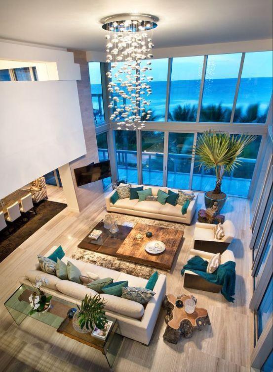 Miami Style Living Room Interior Design Double Height Windows Living Room Fjakahome Homedecor Homedecori Beautiful Houses Interior House Design Miami Decor