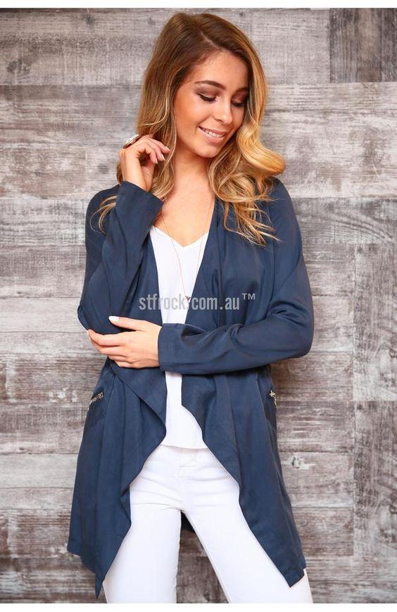 Madison Square Set in Motion Jacket in Navy $79.90   The Set In Motion Anorak is an open front jacket in a fabulous shade of teal by Australian brand, Madison Square. It's made with a 100% cotton material that will shield you from the chilly winds and will keep you looking fresh. This piece features waterfall collars, pockets that zip up and a slightly brought in waist. Overall it has a boxy fit on the wearer, so matching it with something form fitting will create a flattering outfit.