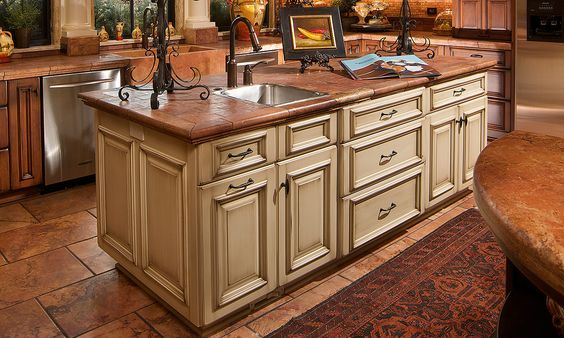 light cherry kitchen cabinets, cream island butcher block  Kitchen