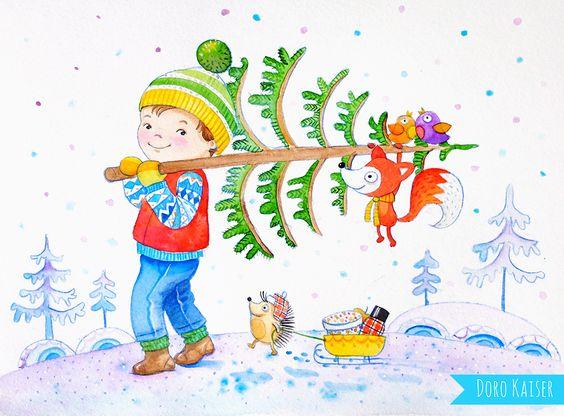 """Aquarell """"Weihnachtsbaum"""" von Doro Kaiser #Kinderillustration #Weihnachtsbaum #winter #Fuchs #Igel #Wald"""