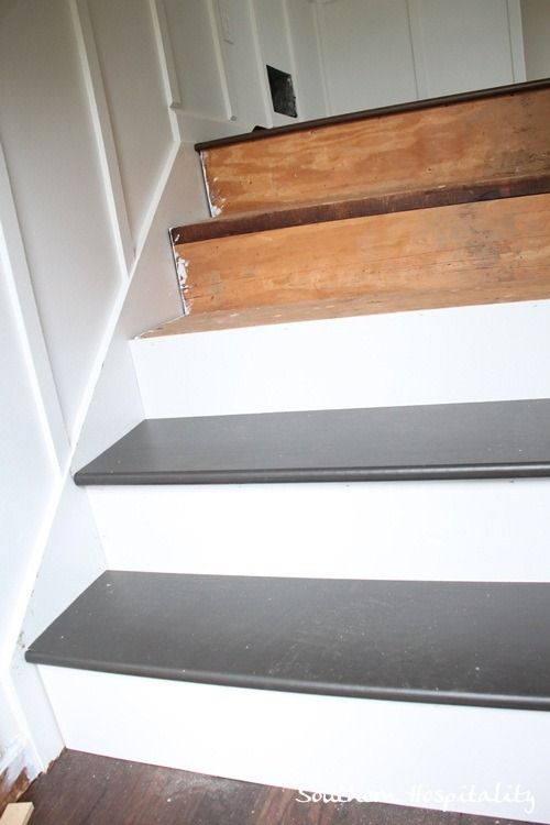 Week 20 how to install new stair treads runners stair for Painted stair treads