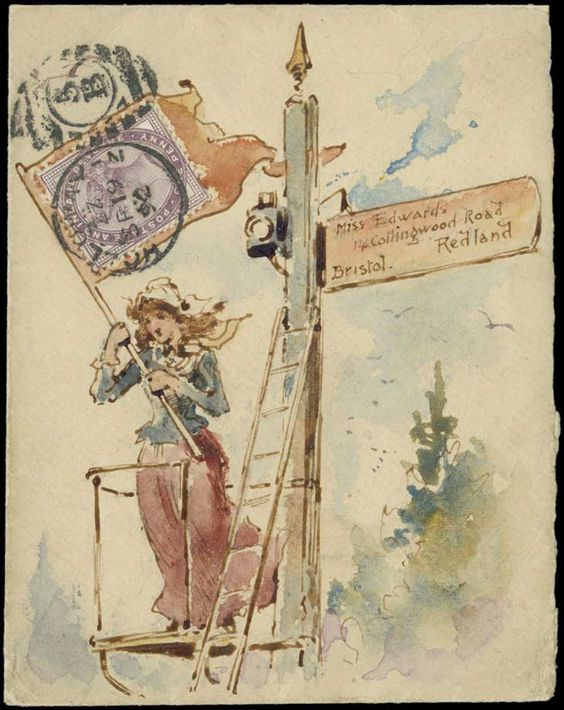 1892 (Sept. 19th) superb watercolour envelope by George Henry Edwards, depicting a girl waving a flag from a railway semaphore tower, sent from London to his daughter for her birthday on Sept. 20th with 1d. lilac forming the flag. Illustrated on page 136 of British Pictorial Envelopes of the 19th Century by Bodily, Jarvis and Hahn.