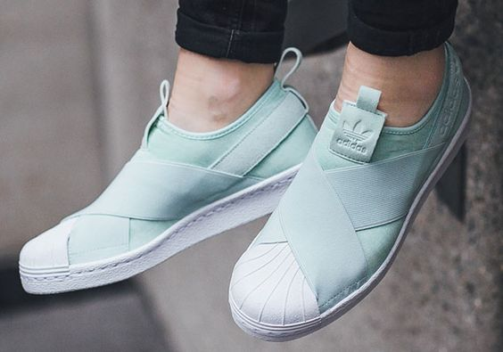 Light Mint Tones On The adidas Superstar Slip-On #thatdope #sneakers #luxury #dope #fashion #trending: