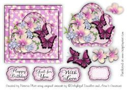 All Occasion Lavendar Frangipani & Butterflys Square Topper