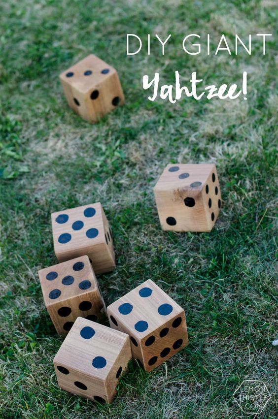 DIY Yard Games- I love this! I've seen Jenga but it's so much fun to have options... like yahtzee!: