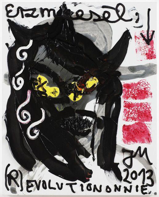 JONATHAN MEESE DREIMAL SCHWARZER PETER DE MIAU (FINANZIER' ALLES), 2013 Oil and Acrylic on Canvas 39 37/100 × 31 1/2 in 100 × 80 cm Bortolami