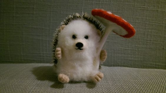 Miniature needlefelt hedgehog with toadstool £20.  #handmade by Ceri crafting through Hemiplegic Migraine, Fibromyalgia, Chronic Fatigue and IBS  #Spoonie