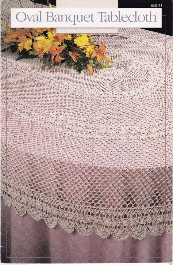 Annies Attic Oval Banquet Tablecloth Crochet Pattern leaflet 1989 ...