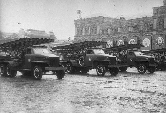 Katyusha rocket launchers on Studebaker US6 trucks at the Victory Parade in Moscow on June 24, 1945 that commemorated victory over Germany. Description from curbsideclassic.com. I searched for this on bing.com/images
