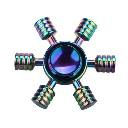 Rainbow 6 Sided Fidget Spinner Metal Finger Toy Rainbow Metal Rainbow Fidget Spinner Hand Spinner