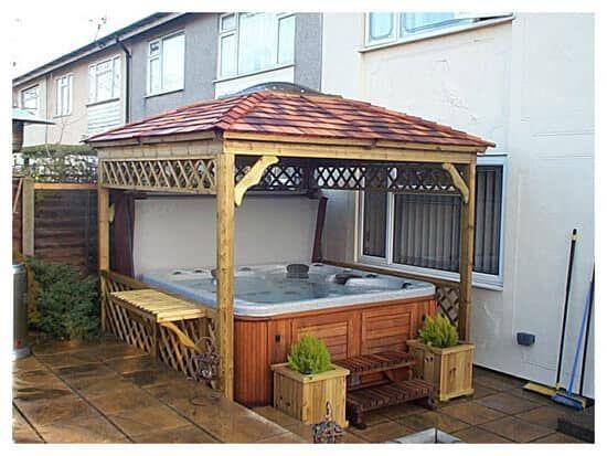 Backyard Fence Design Ideas To Inspire You Yard Surfer Hot Tub Gazebo Hot Tub Pergola Hot Tub Backyard