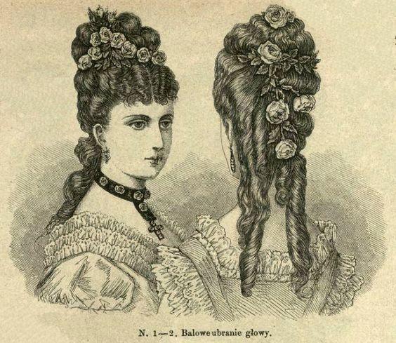 Fryzura balowa, 1874; Ball hairstyle, 1874