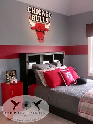 Chicago bulls created by and paint for bathroom on pinterest for Rooms for kids chicago