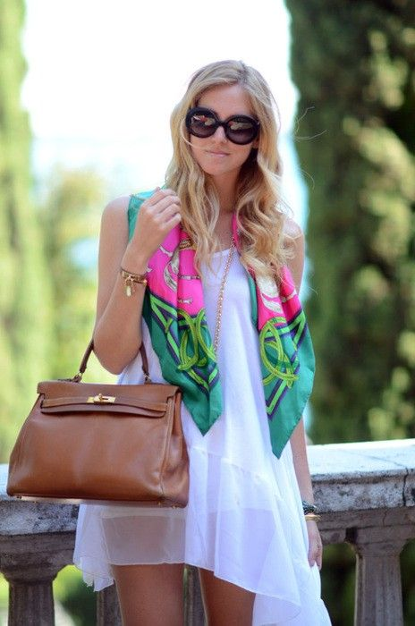 Little white dress, with great sunnies, bag, and a bright scarf