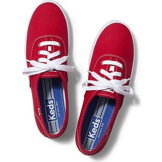 Keds CHAMPION ORIGINALS ($45) ❤ liked on Polyvore featuring shoes, sneakers, red, keds shoes, keds footwear, red trainer, flexible shoes and keds sneakers