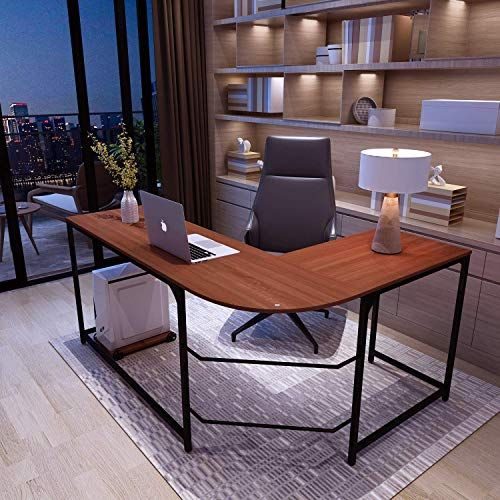 Buy Simlife Reversible L Shaped Desk Modern Corner Computer Desk Home Office Wood Metal Small Teak Online In 2020 Computer Desks For Home Modern Desk Home Desk